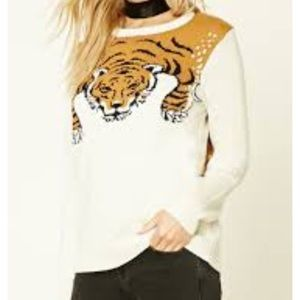 Forever 21 Beige Taupe brown tiger print sweater